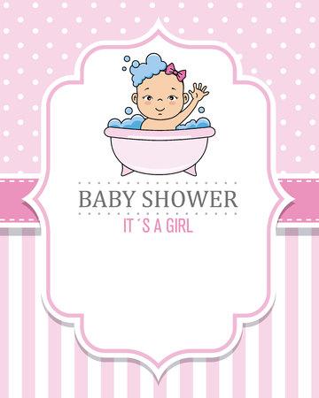 Illustration for baby shower card girl. Baby girl bathing - Royalty Free Image
