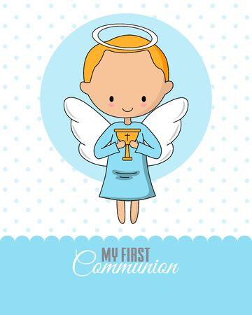 Ilustración de Angel with a chalice. Communion or baptism card - Imagen libre de derechos