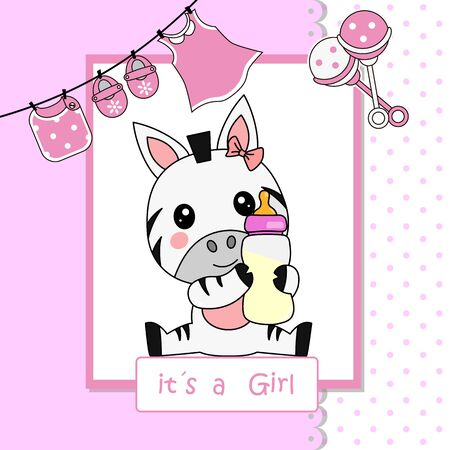 Illustration for Baby girl shower card. Cute zebra with baby bottle - Royalty Free Image