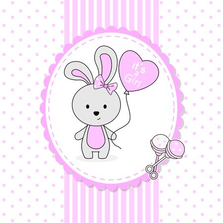 Illustration for Baby girl shower card. Cute rabbit with heart shaped balloon - Royalty Free Image