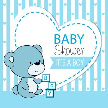 Vektor für Baby boy shower card. Cute bear - Lizenzfreies Bild
