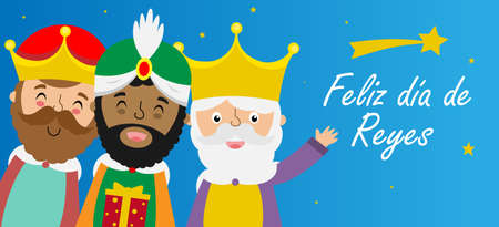 Illustration pour Card of the three wise men. Spanish text happy kings day - image libre de droit