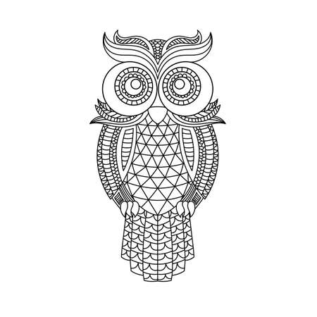 Ilustración de owl head coloring book illustration. Antistress coloring for adults. black and white lines. Print for t-shirts and coloring books. - Imagen libre de derechos