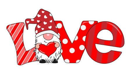 Ilustración de Love card. Gnome with heart in hands and parabra love in the background - Imagen libre de derechos