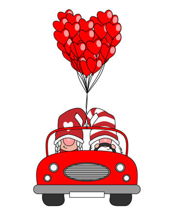 Ilustración de Love card. Gnome couple in car with many balloons in the shape of hearts. - Imagen libre de derechos