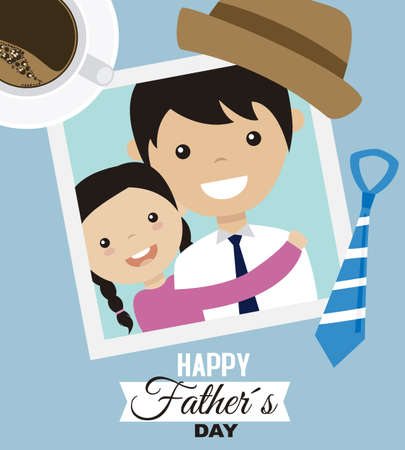 Ilustración de Father's day card. Photo dad and daughter and man accessories - Imagen libre de derechos