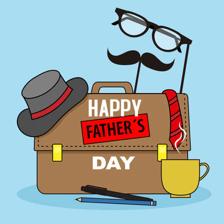 Ilustración de Father's day card. Men's accessories. Isolated vector - Imagen libre de derechos