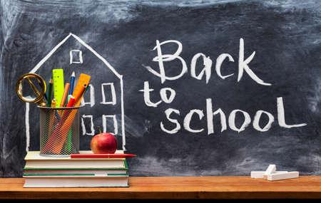 Photo pour School books on desk, education concept.Text Sign Concept Back to School. - image libre de droit