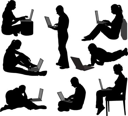 Illustration pour people working on their laptops silhouettes vector - image libre de droit
