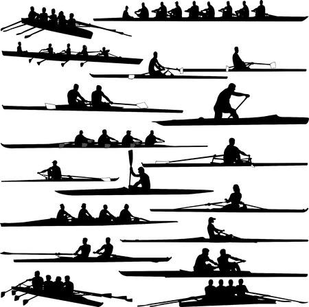 Ilustración de rowing collection silhouettes - vector - Imagen libre de derechos