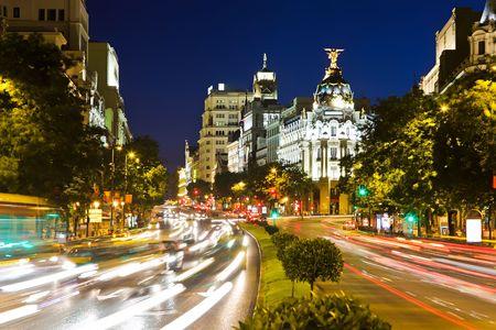 Street traffic in night Madrid, Spain