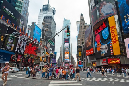 NEW YORK - OCTOBER 7, 2007: Pedestrians walk across Times square on October 7, 2007 in New York City. Times Square is a major commercial intersection in the borough of Manhattan in New York City