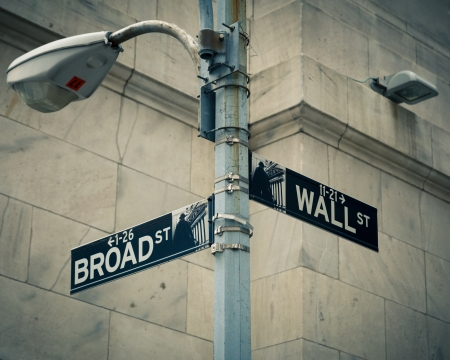 Street signs of Wall street and Broad street, New York