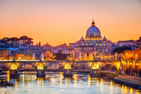 Saint Peter cathedral at night, Rome