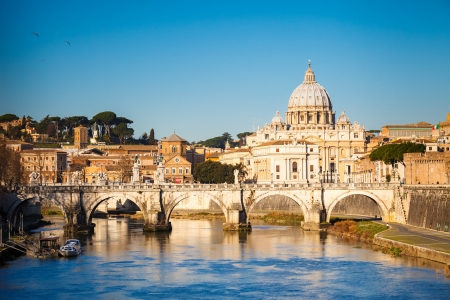 Tiber and St  Peter s cathedral, Rome