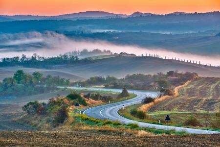 Photo for Tuscany landscape at sunrise, Italy - Royalty Free Image