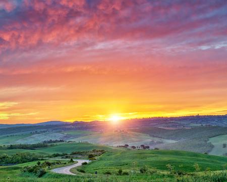 Photo for Beautiful Tuscany landscape at sunrise, Italy - Royalty Free Image