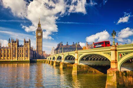Foto de Big Ben and westminster bridge in London at sunny day - Imagen libre de derechos