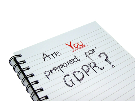 Photo pour Are YOU Prepared for General Data Protection Regulation Notebook (Isolated on White Background) - image libre de droit