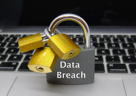 Foto de Data Breach Padlocks - Data Protection Concept - Imagen libre de derechos