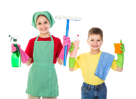 Happy kids with cleaning equipment, isolated on white