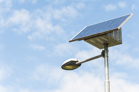 Street Light powered by a solar panel with a battery included