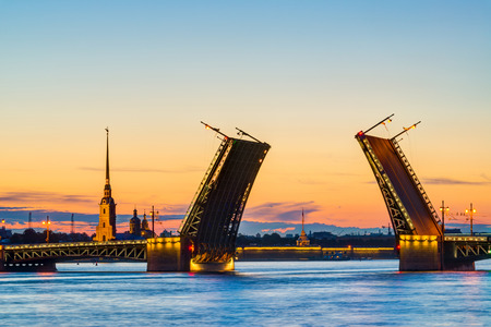 Postcard view of Palace Bridge with Peter and Paul Fortress - symbol of St  Petersburg White Nights, Russia