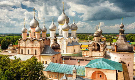 Assumption Cathedral and church of the Resurrection in Rostov Kremlin, Rostov the Great, Russia. Included in World Heritage list of UNESCO