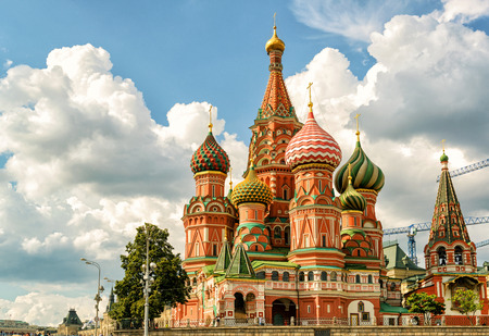 St. Basil`s Cathedral on the Red Square in Moscow, Russia