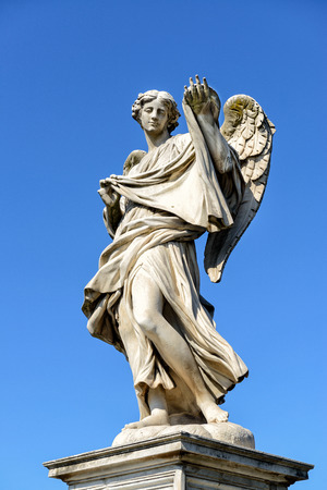Angel statue on the Ponte Sant`Angelo in Rome, Italy