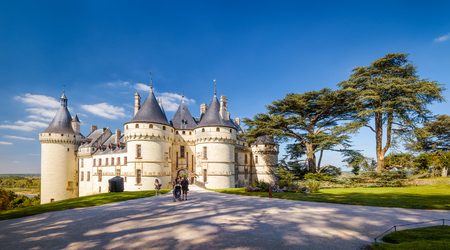 Panoramic view of Chateau de Chaumont-sur-Loire, France. This famous castle is located in the Loire Valley, was founded in the 10th century and was rebuilt in 15th.