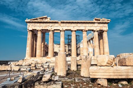 Photo for Ancient Parthenon temple on Acropolis, Athens, Greece. It is top landmark of Athens. Facade of famous Parthenon in Athens city center. Scenery of Greek ruins, remains of classical Athenian culture. - Royalty Free Image