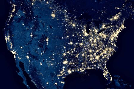 Earth at night, view of city lights in United States from space. USA on world map on global satellite photo. US terrain on dark planet. Elements of this image furnished by NASA.