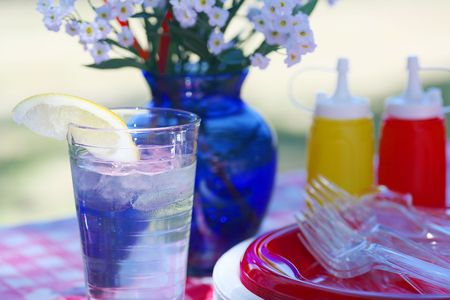 Glass of Ice Water and Summer Picnic Supplies