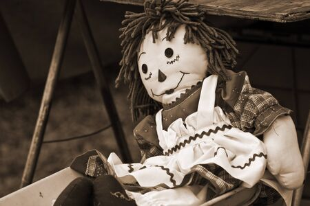 Old Raggedy Ann Doll in sepia tone