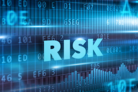 Risk concept blue background with blue text