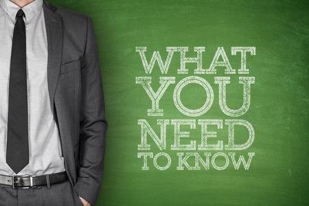 Foto für What you need to know on blackboard with businessman - Lizenzfreies Bild