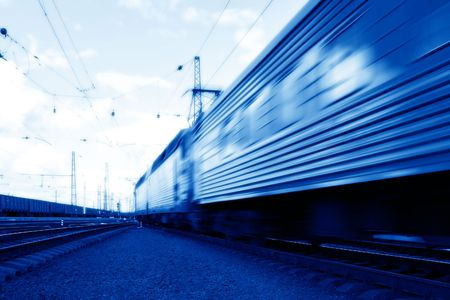 Blue speed train in motion concept