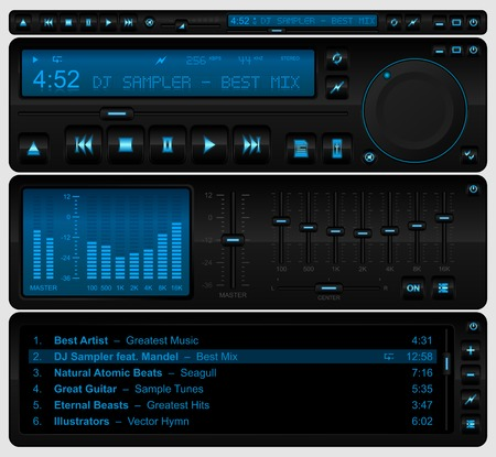 Illustration pour Complete multimedia player interface - image libre de droit