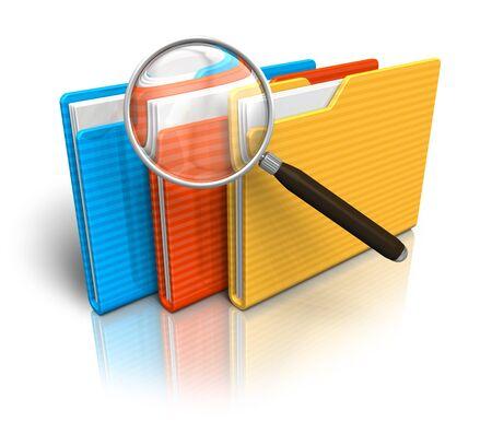 Photo pour File search concept: folders and magnifying glass - image libre de droit