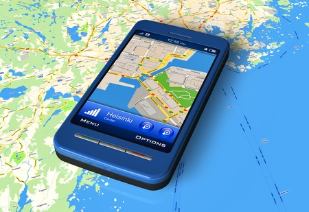 Smartphone with GPS navigator on map *** Design of smartphone is my OWN