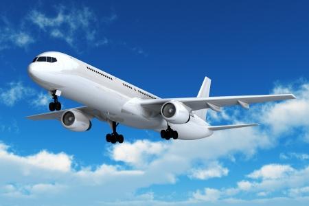 Photo pour Passenger airliner flight in the blue sky - image libre de droit