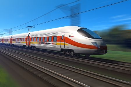 Modern high speed train with motion blur *** Design of this train is my own