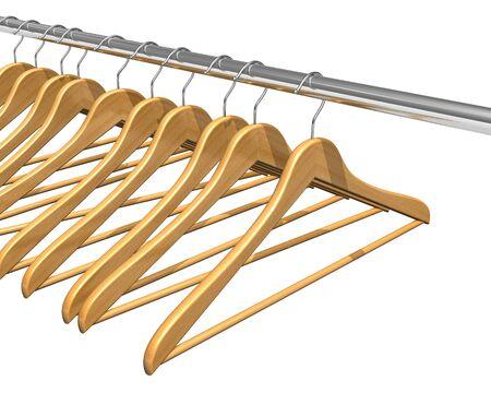 Coat hangers on clothes rail