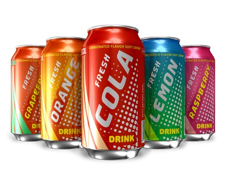 Set of refreshing soda drinks in metal cans