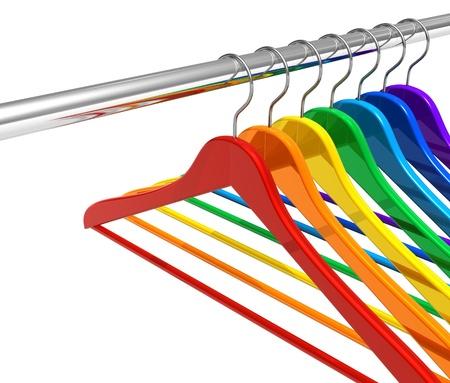 Rainbow hangers on clothes rail