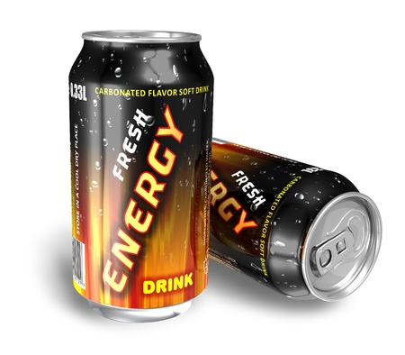 Energy drinks in metal cans *** DESIGN OF THESE DRINK CANS IS MY OWN, ALL TEXT LABELS ARE FULLY ABSTRACT