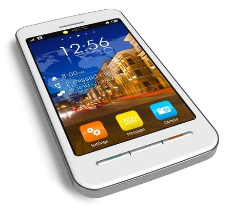 Stylish white touchscreen smartphone