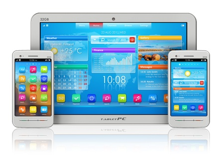 Mobility concept: white tablet PC and smartphones isolated on white reflective background