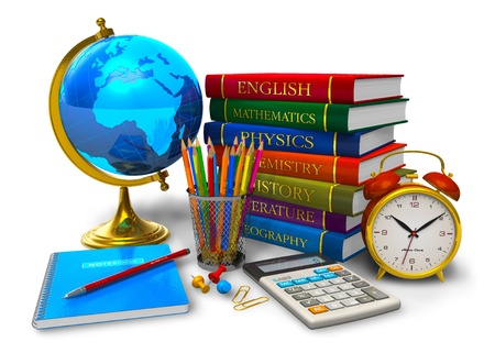 Photo for Education and back to school concept: stack of textbooks, desktop globe, calculator and other school/college objects isolated on white background - Royalty Free Image